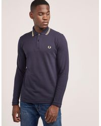7330beb3b Fred Perry - Mens Reissue Twin Tipped Long Sleeve Polo Shirt Blue - Lyst