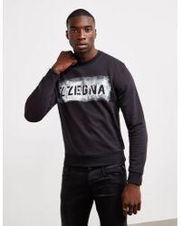 Z Zegna - Logo Waterpaint Print Sweatshirt - Lyst