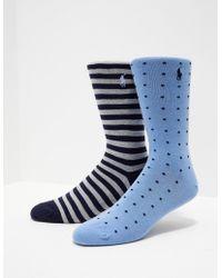 Polo Ralph Lauren - Mens 2-pack Pattern Socks Blue - Lyst