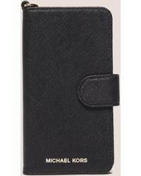 Michael Kors - Womens Leather Iphone6 Phone Case Black - Lyst