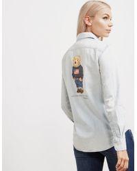 Polo Ralph Lauren - Womens Bear Denim Long Sleeve Shirt - Online Exclusive Blue - Lyst