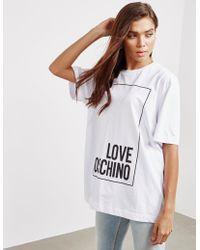 Love Moschino - Womens Logo Box Oversized Short Sleeve T-shirt White - Lyst