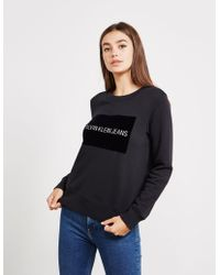 Calvin Klein - Womens Institutional Flock Sweatshirt - Online Exclusive Black - Lyst