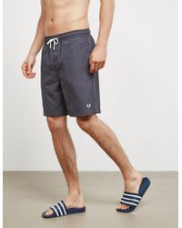 Fred Perry - Mens Textured Swim Shorts Charcoal/charcoal - Lyst