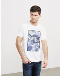 Michael Kors - Mens Palm Print Short Sleeve T-shirt White - Lyst