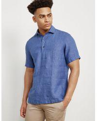 Z Zegna - Mens Linen Short Sleeve Polo Shirt Blue - Lyst