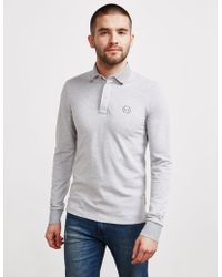 Armani Exchange - Mens Chest Logo Long Sleeve Polo Shirt Grey - Lyst