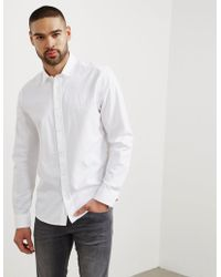 HUGO - Mens Evory Long Sleeve Shirt White - Lyst