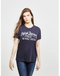 Polo Ralph Lauren - Womens Embroidered Logo Short Sleeve T-shirt Navy Blue - Lyst