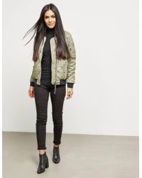 True Religion - Chalk Quilted Bomber Jacket - Online Exclusive Green - Lyst