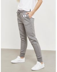 Calvin Klein - Womens Monogram Track Trousers Grey - Lyst