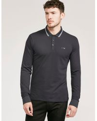 Armani Jeans - Mens Modern Fit Long Sleeve Polo Shirt Navy Blue - Lyst