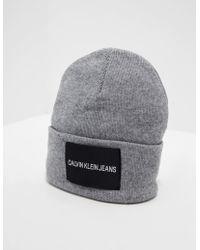 Calvin Klein - Patch Beanie Grey - Lyst