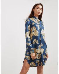 Versace - Womens Printed Shirt Dress - Online Exclusive Navy Blue - Lyst