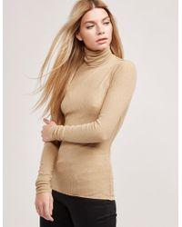 Polo Ralph Lauren - Womens Ribbed Turtle Neck Knitted Jumper Brown - Lyst