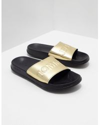 Tommy Hilfiger - Womens Metallic Pool Slides Gold - Lyst