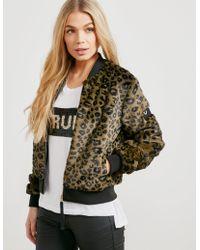 True Religion - Womens Faux Fur Padded Bomber Jacket Black/leopard - Lyst
