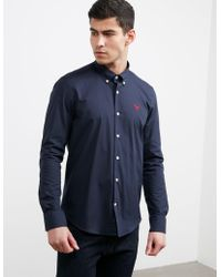 Barbour - Mens Long Sleeve Poplin Shirt Navy Blue - Lyst