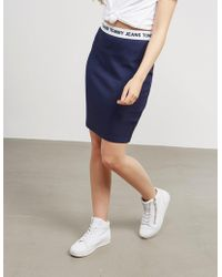 Tommy Hilfiger - Womens Logo Pencil Skirt Navy - Lyst