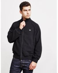 Fred Perry - Polar Fleece Full Zip Track Top Black - Lyst