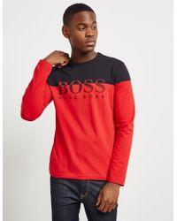 BOSS - Mens Togn2 Long Sleeve T-shirt Red - Lyst