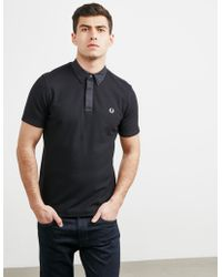 Fred Perry - Mens Oxford Waffle Collar Short Sleeve Polo Shirt Black - Lyst