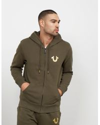 True Religion - Mens Full Zip Gold Puf Hoodie Olive/gold - Lyst