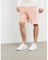 adidas Originals - Mens 3-stripes Fleece Shorts Pink - Lyst