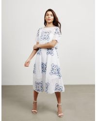 BOSS - Womens Emare Floral Dress White - Lyst