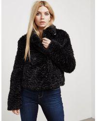 Armani Jeans - Womens Faux Fur Jacket Black - Lyst