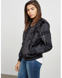 True Religion - Womens Faux Fur Bomber Jacket Black - Lyst