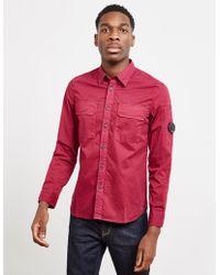 C P Company - Mens Double Pocket Long Sleeve Shirt Purple - Lyst
