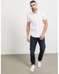 Emporio Armani   Mens Basic Poplin Short Sleeve Shirt White/white   Lyst