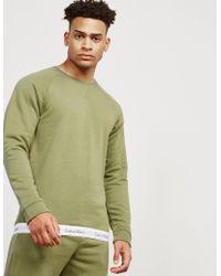 Calvin Klein - Mens Basic Crew Tape Sweatshirt Olive - Lyst