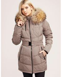 FROCCELLA - Womens Belted Padded Jacket Camel - Lyst