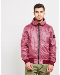 Stone Island - Mens Lamy Flocked Hooded Bomber Jacket Red - Lyst