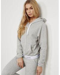 Calvin Klein - Womens Full Zip Hoodie Grey Marl - Lyst