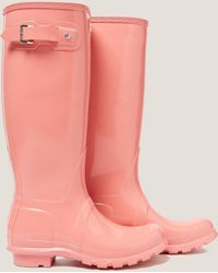 HUNTER - Womens Tall Gloss Boot Pink - Lyst