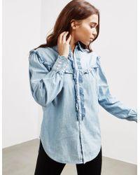 Polo Ralph Lauren - Womens Frill Denim Shirt - Online Exclusive Blue - Lyst