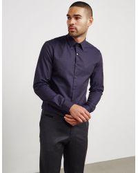 Calvin Klein | Mens Padua Houndstooth Long Sleeve Shirt Navy | Lyst