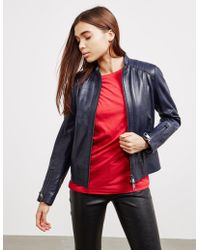 BOSS - Womens Jafable Leather Jacket Blue - Lyst