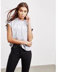 DKNY - Womens Sleeveless Hoodie Grey - Lyst