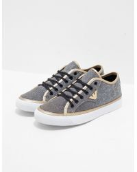 Emporio Armani - Womens Low Top Glitter Trainers Gold - Lyst