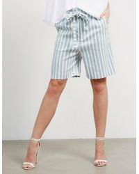 BOSS - Womens Sashorty Stripe Shorts Blue - Lyst