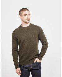 Aquascutum - Mens Elbow Patch Knitted Jumper Olive/olive - Lyst