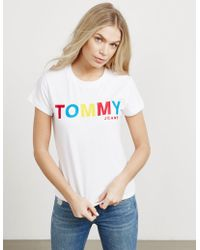 Tommy Hilfiger - Womens Logo Short Sleeve T-shirt - Online Exclusive White - Lyst