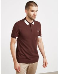 Fred Perry - Mens Block Tipped Short Sleeve Polo Shirt Burgundy/burgundy - Lyst