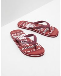 Barbour - Mens Beacon Flip Flops Red - Lyst