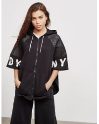 DKNY - Womens Full Zip Poncho Jacket Black - Lyst