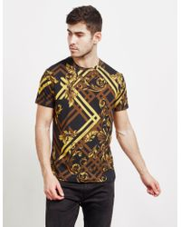 c5259188 Versace Jeans - Mens Baroque Print Short Sleeve T-shirt Black - Lyst